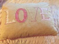 "Next ""love"" appliqué cushion"