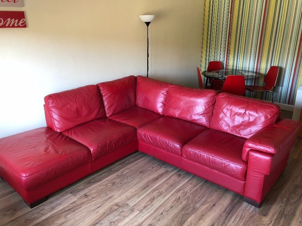 Red Leather Corner Sofa By Reid Furniture