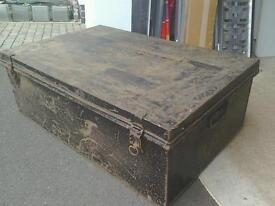 Antique tin metal trunk Victorian sea chest also used for WW11 great coffee table original paint
