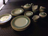 Green / aztec design dinnerware set