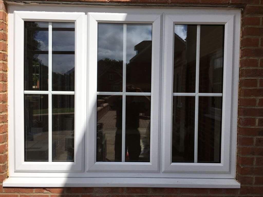 2 Separate X White Upvc Georgian Bar Double Glazed Windows