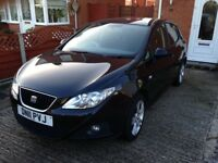 Seat Ibiza 2011, 12 months MOT, Bluetooth/Cruise Control/Air Conditioning, Black, Well looked after