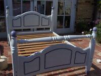 Painted pine double bed and mattress