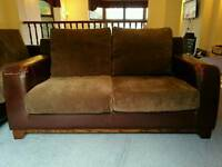 Brown leather and fabric 2 & 3 seater sofa for sale