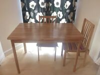 WOOD Table and 3 chairs