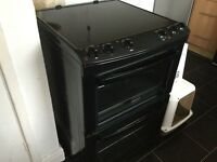 Zanussi double oven in black. Fan in main oven/ top oven/ grill
