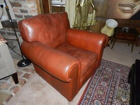 Traditional Leather Suite - 2 Large substantial chairs and settee - Tan colour