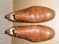 Mens Crockett and Jones Summer Light Brown Tan Leather Dress Shoes UK size 10.5 with Shoe Trees