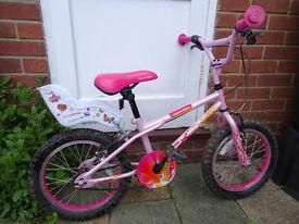 "Apollo Roxie girls 16"" bike with dolly's seat"