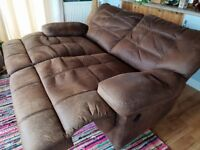 Electric reclining 2 seater brown faux leather sofa