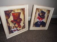 2 SHABBY CHIC STYLE ANIMAL PRINTS 12 INCHES BY 10 INCHES,GLASS FRAMED