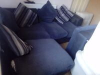 FREE BLACK/BLUE/GREY FABRIC CORNER SOFA 5-6 SEATER IN USED CONDITION