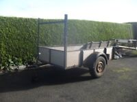 trailer with ladder rack ,on leaf springs, checker plate, lights