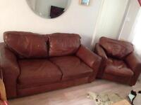 Leather 2 seater sofa (x2) and arm chair ( can be sold separately)