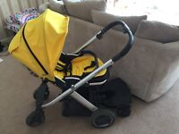 Gorgeous yellow oyster pram with buggy board