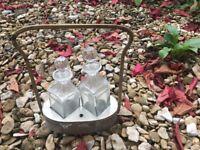 Vintage glass condiment set