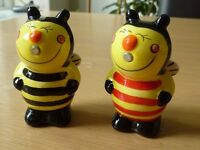A pair of Ceramic Bumble Bee Salt & Pepper pots - New with box