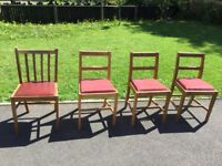 4 dining table chairs, solid wood with fabric seats