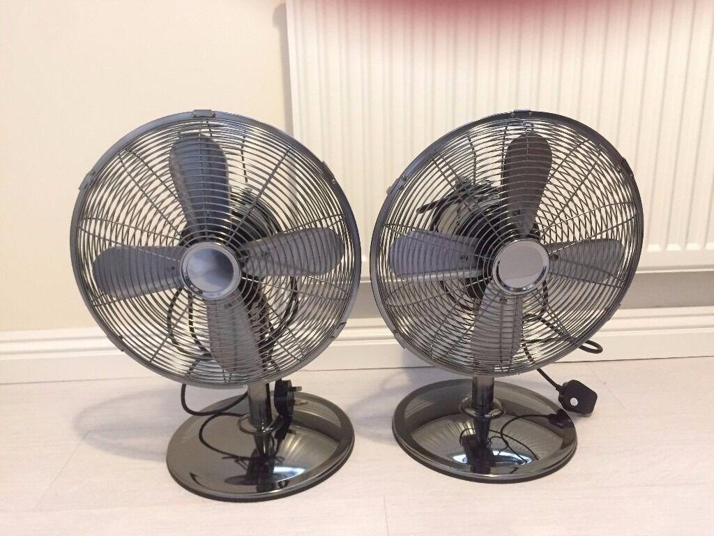 Pair Of Tesco Retro Design 12 Metal Oscillating Desk Fan 3 Sd