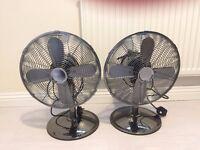 Pair of Tesco Retro Design 12'' Metal Oscillating Desk Fan, 3 Speed, Gun Metal Grey. R.R.P. £40