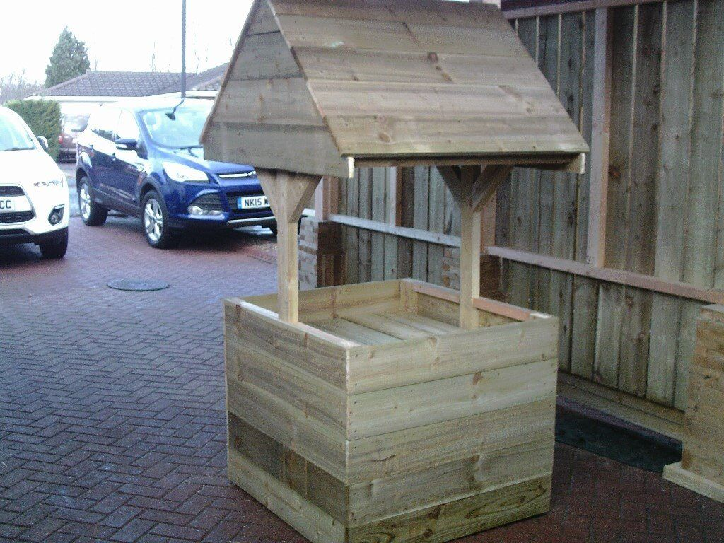 Large Wooden Wishing Well Planter Garden Furniture 2ft 6 X 2ft 6
