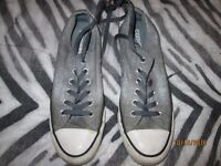 DENIM GREY CONVERSE LACE UP TENNIS SHOES SIZE 6 HAVE BEEN WORN BUT LOTS OF WEAR STILL IN THEM