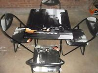 Fold down flat table and 4 folding chairs