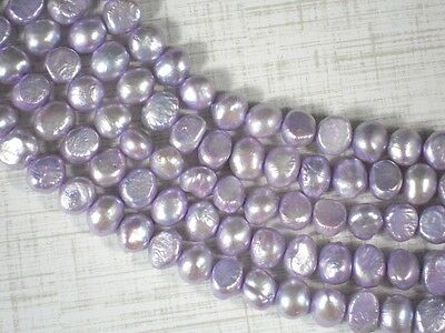Lavender Pearls 8mm Baroque Potato Side Drilled - FULL Strand #4291