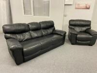 3 & 1 Luxury DFS black full leather sofas suite