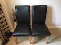 Pair of dark brown leather flux chairs