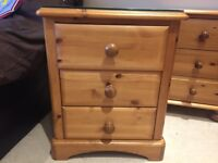 Bedside Draws in Solid Pine Good Condition