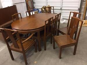 1 set of Solid Red Walnut Chinese style Dining Table with 8 of Matching Chairs and 1 Extension Board  - Used
