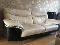 Cream leather sofa set. good condition, no rips, comfortable. Quick sale no time wasters. £400 ono