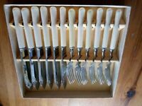 Stainless steel fish and fork knives set