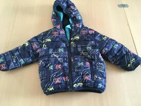 Blue coat with cars 12-18 months