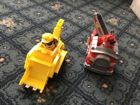 Paw patrol toys bundle Rubble and Marshall and vehicles