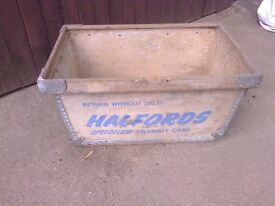 Vintage Advertising Halfords Storage Box Transit Case Motoring Memorabilia Man Cave Decorators Item