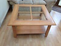 Beechwood veneer glass top Large coffee table