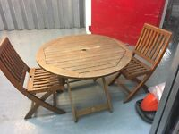 LANGMAN TEAK TABLE WITH TWO COLLAPSABLE CHAIRS