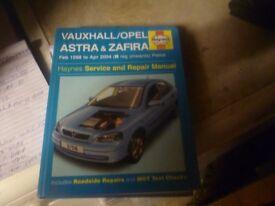 haynes w/shop manual for astra /zafira petrol . 98 to 2004