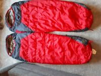 Two Ayacucho 250 Junior sleeping bags. Mummy shape
