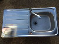 AS NEW STAINLESS STEEL INSERT L/HND DRAINER SINK, FITTED WITH AS NEW HIGH PRESSURE MIXER TAP/ WASTE.