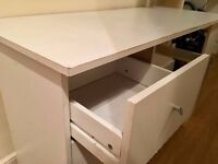 IKEA desk - white, with drawers and storage