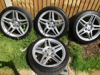 18 inch Mercedes amg alloys 2 brand new tyres on rear done 60 mile 2 good tyres on front