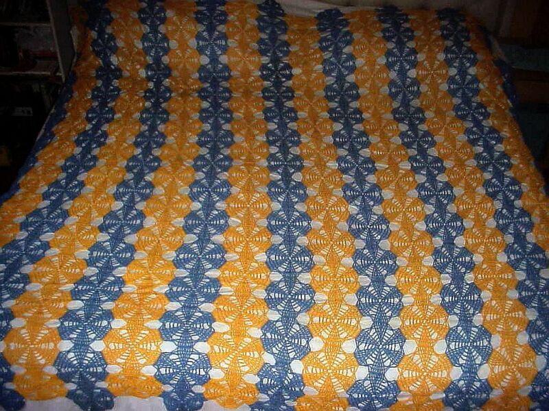 Vintage Spider Web Crochet BED COVER Coverlet 86x82 Bedspread