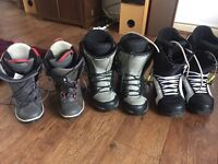 3 pairs very good condition snowboarding boots
