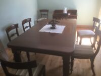 Antique Victorian Dining table and 8 chairs