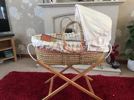 Mamas and papas Moses basket and stand as new