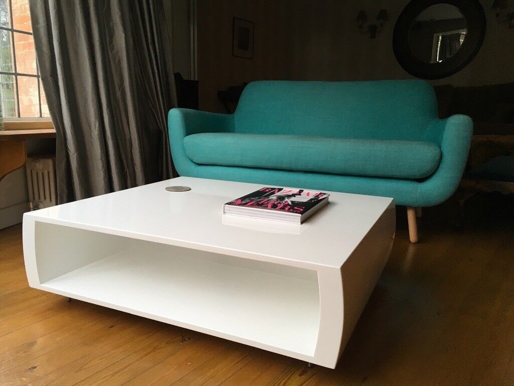 Virtually Perfect Condition Rectangular Low White Gloss Coffee Table From On Line Retailer Made