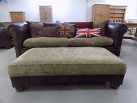 Beautiful Brown Leather & Fabric Tetrad Shakleton Sofa & Footstool